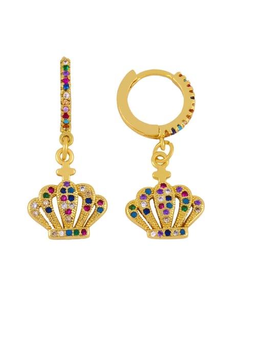 an crown Brass Cubic Zirconia Crown Vintage Huggie Earring