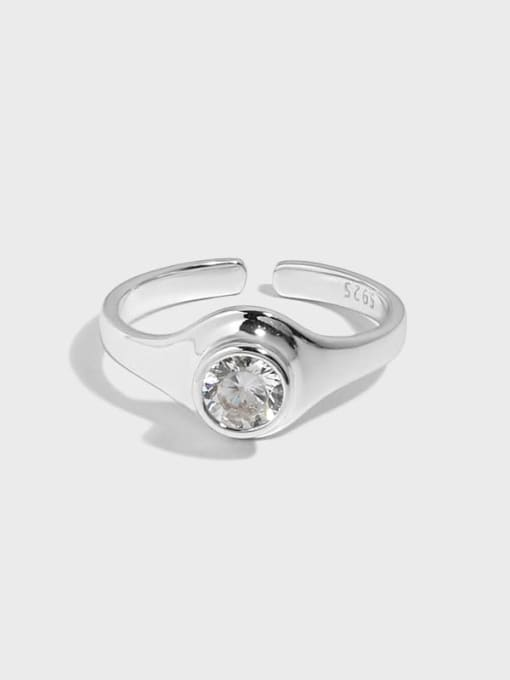 DAKA 925 Sterling Silver Rhinestone Geometric Minimalist Band Ring