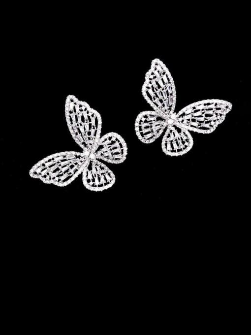 Luxu Brass Cubic Zirconia Butterfly Statement Cluster Earring 1