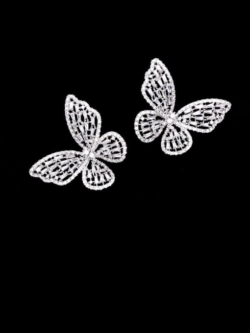 Platinum diamond large Brass Cubic Zirconia Butterfly Statement Cluster Earring