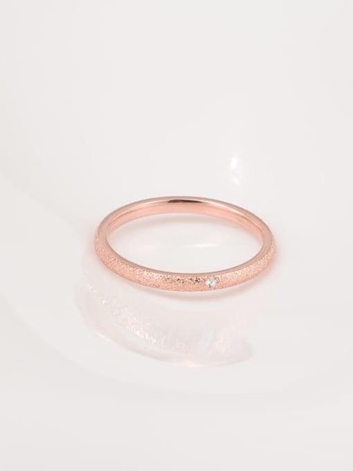 A TEEM Titanium Steel Rhinestone Round Minimalist Band Ring 1