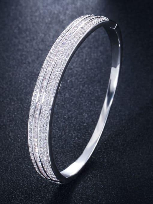 L.WIN Brass Cubic Zirconia Geometric Luxury Band Bangle 3
