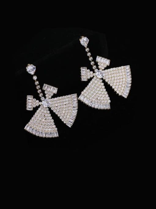 Luxu Brass Cubic Zirconia Triangle Statement Drop Earring 2