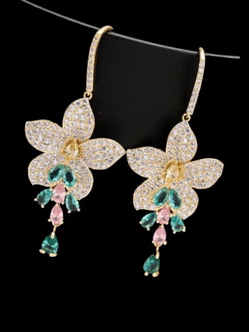 Luxu Brass Cubic Zirconia Flower Luxury Hook Earring 2