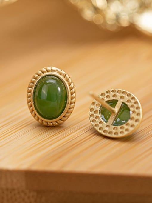 DEER 925 Sterling Silver Jade Oval Vintage Stud Earring 3