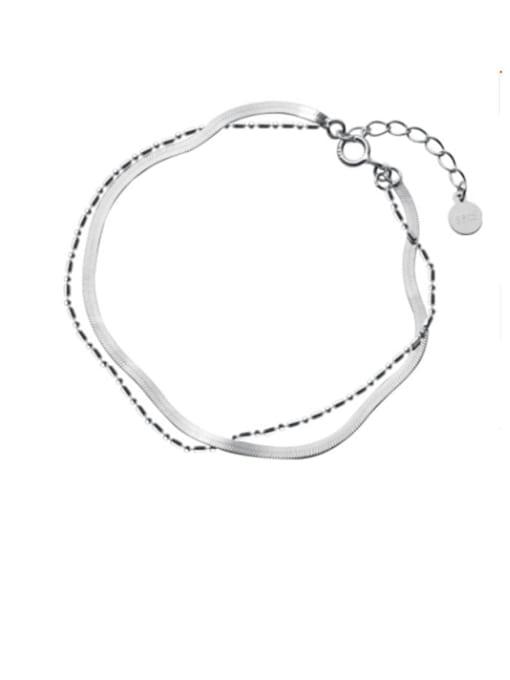 Rosh 925 Sterling Silver Bead Irregular Minimalist Strand Bracelet 0