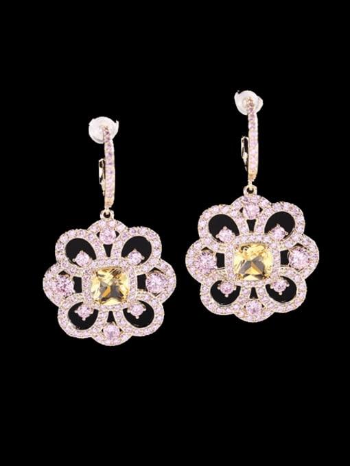 pink Brass Cubic Zirconia Flower Minimalist Drop Earring