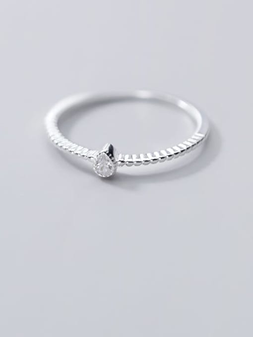Rosh 925 Sterling Silver Cubic Zirconia Water Drop Minimalist Band Ring 1