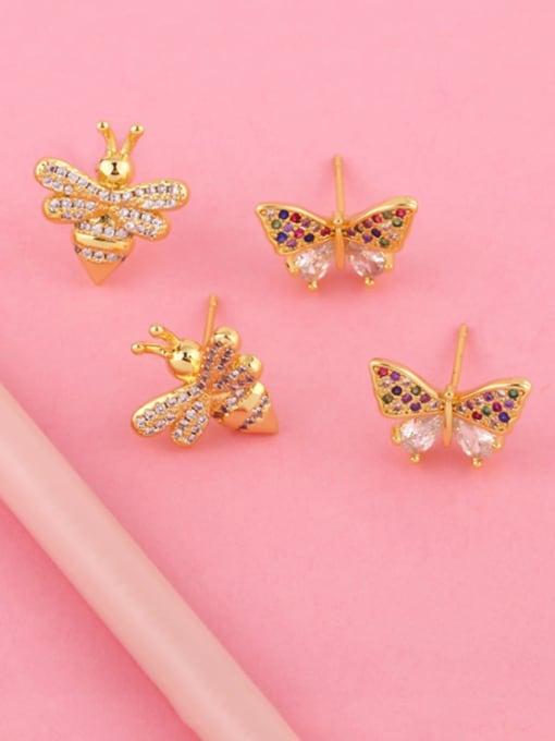 CC Brass Cubic Zirconia Butterfly Dainty Stud Earring 2