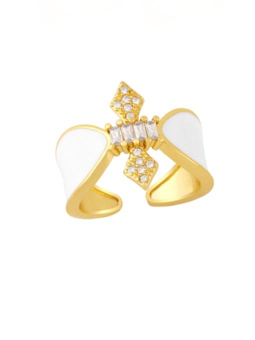 white Brass Enamel Rhinestone Geometric Vintage Band Ring