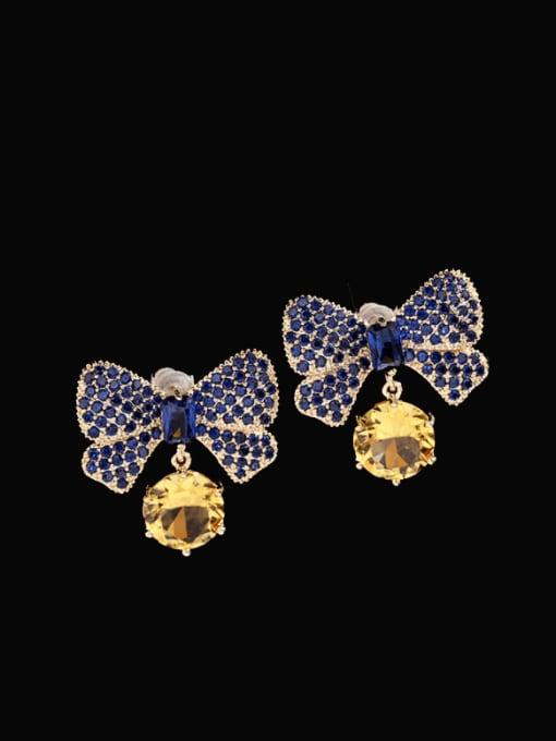 Blue zirconium Brass Cubic Zirconia Butterfly Bohemia Stud Earring