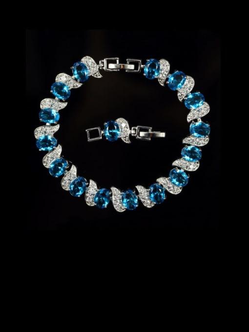 Sea blue Brass Cubic Zirconia Geometric Luxury Bracelet