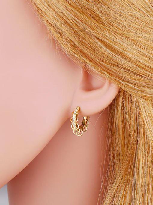 CC Brass Cubic Zirconia Geometric Hip Hop Huggie Earring 1