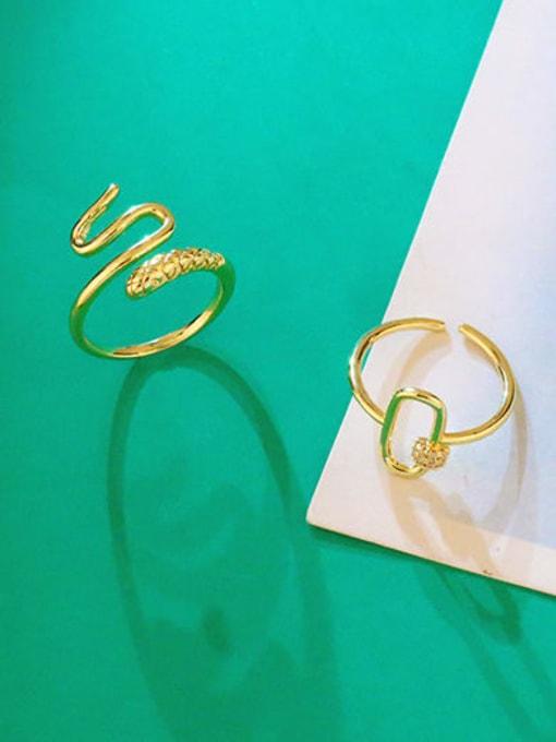 CC Brass Rhinestone Snake Hip Hop Band Ring 2
