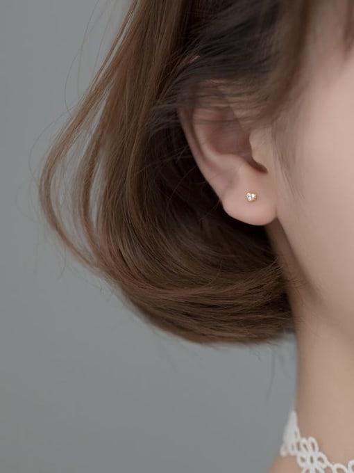 Rosh 925 Sterling Silver Cubic Zirconia Heart Minimalist Stud Earring 2