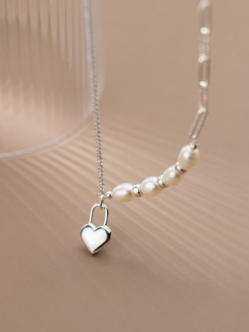 Rosh 925 Sterling Silver Freshwater Pearl Heart Minimalist Asymmetric chain Necklace