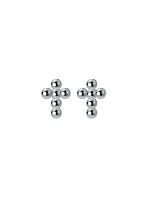 Rosh 925 Sterling Silver Cross Minimalist Stud Earring 4