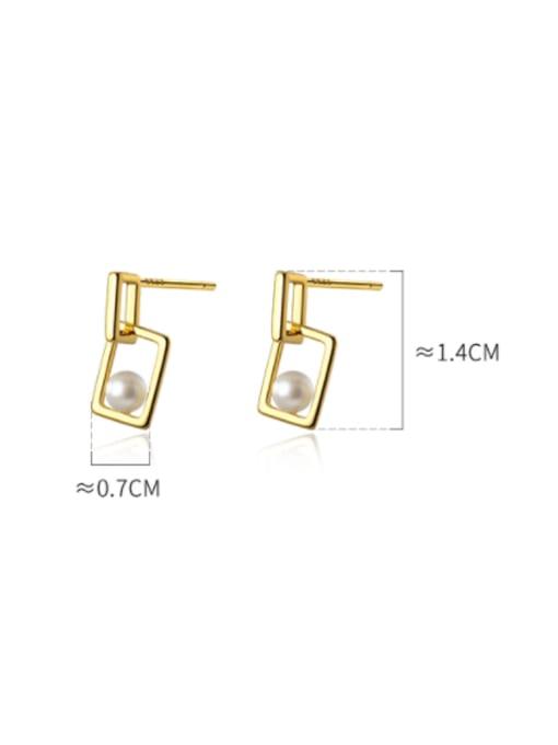 Rosh 925 Sterling Silver Imitation Pearl Geometric Minimalist Drop Earring 4