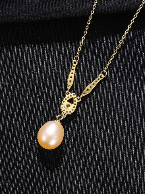 Pink 8B12 925 Sterling Silver Freshwater Pearl Water Drop Minimalist Necklace