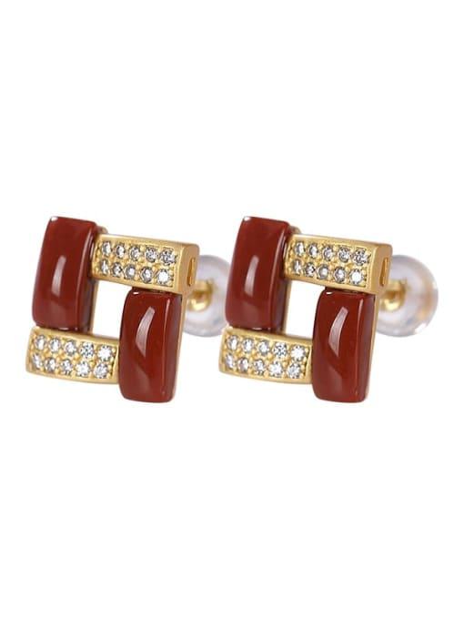 DEER 925 Sterling Silver Carnelian Geometric Vintage Stud Earring 2