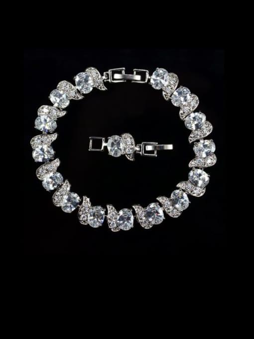 white Brass Cubic Zirconia Geometric Luxury Bracelet
