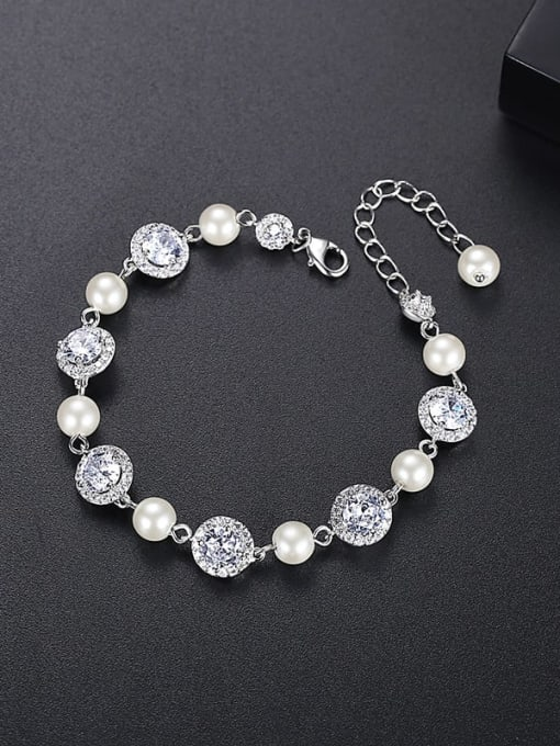 LLB 001 Brass Cubic Zirconia Geometric Luxury Bracelet