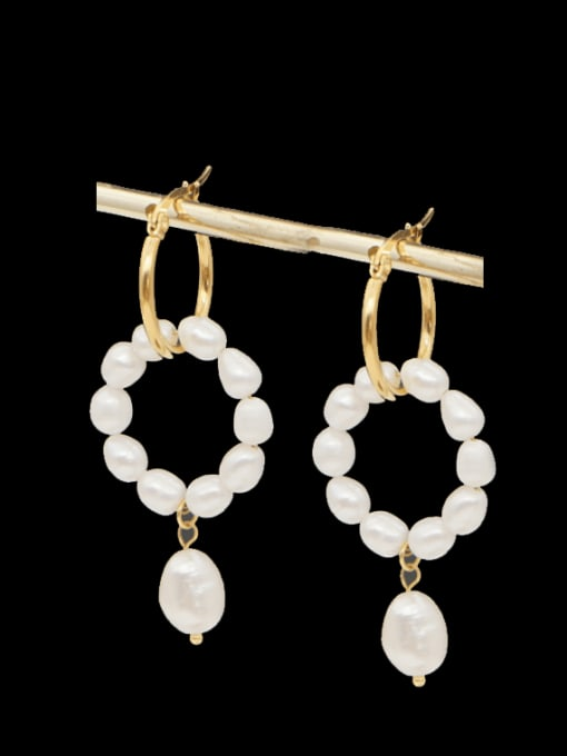 Roxi Stainless steel Freshwater Pearl Geometric Ethnic Drop Earring