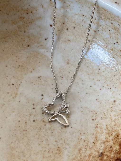 Boomer Cat 925 Sterling Silver Cubic Zirconia Butterfly Minimalist Necklace 1