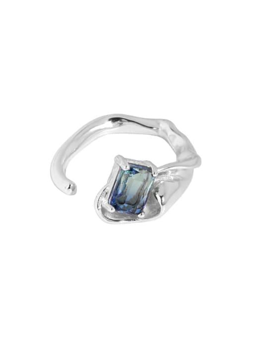 DAKA 925 Sterling Silver Glass Stone Irregular Vintage Band Ring 3