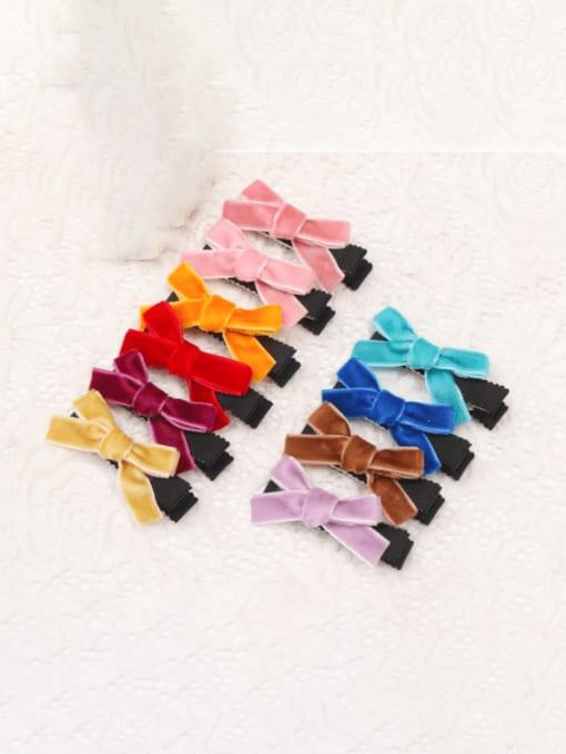 YOKI KIDS Alloy Fabric Cute Bowknot  Multi Color Hair Barrette 4
