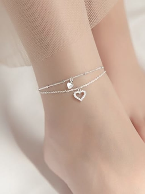 Rosh 925 Sterling Silver Cubic Zirconia Heart Minimalist  Anklet 1