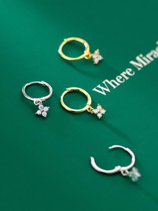 Rosh 925 Sterling Silver Cubic Zirconia Clover Minimalist Huggie Earring