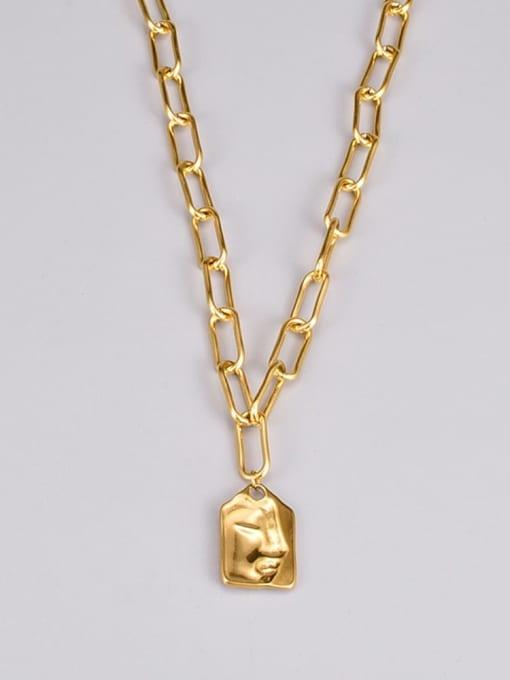 A TEEM Titanium Steel Geometric Vintage Hollow Chain Necklace 2