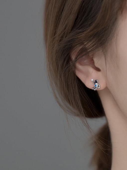 Rosh 925 Sterling Silver Enamel  Minimalist  Star astronaut Asymmetry Stud Earring 3