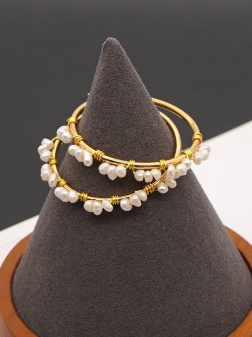Roxi Stainless steel Freshwater Pearl Geometric Minimalist Huggie Earring 1