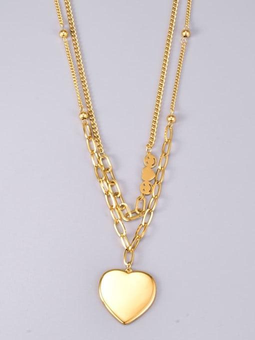 A TEEM Titanium Steel Heart Vintage Multi Strand Necklace 2