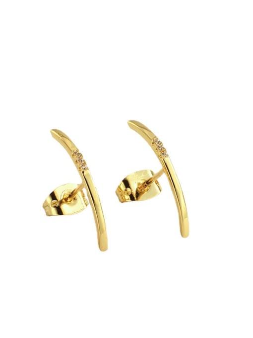 CHARME Brass Rhinestone Geometric Minimalist Stud Earring 3