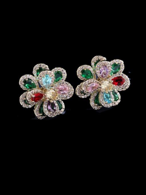 Luxu Brass Cubic Zirconia Flower Trend Stud Earring