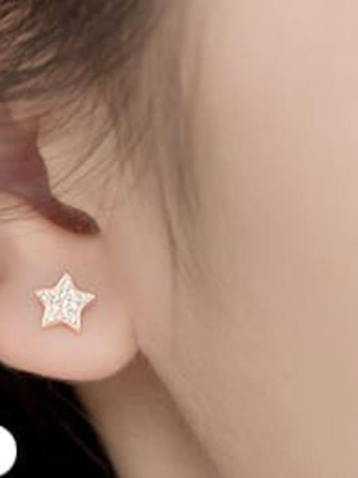 rose gold 925 Sterling Silver Rhinestone Star Minimalist Stud Earring
