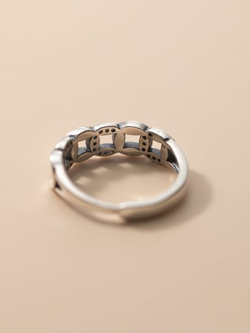 Rosh 925 Sterling Silver Hollow Geometric Vintage Band Ring 2