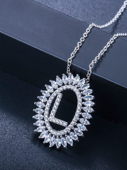 letter L Brass Cubic Zirconia Geometric Luxury Letter pendant Necklace