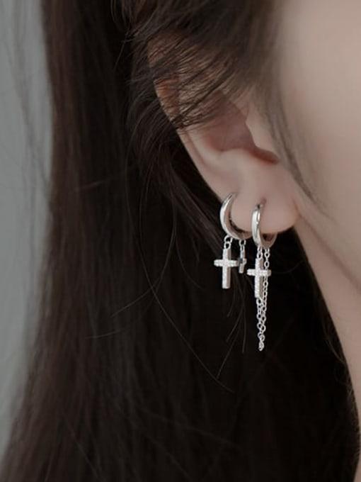 Rosh 925 Sterling Silver Cross Vintage Huggie Earring 1