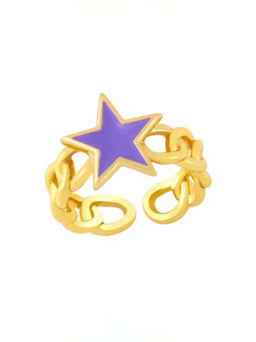 purple Brass Enamel Star Vintage Band Ring