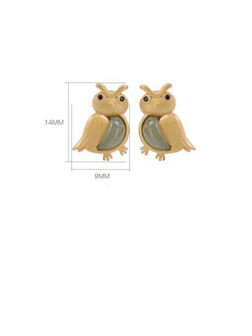 DEER 925 Sterling Silver Jade Eagle Cute Stud Earring 3