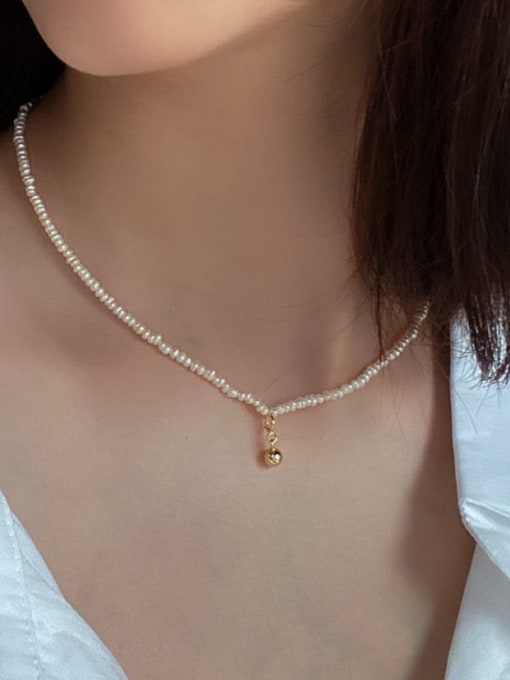 Boomer Cat 925 Sterling Silver Imitation Pearl Geometric Vintage Necklace 1