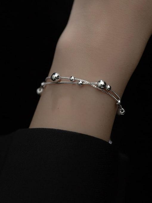 Rosh 925 Sterling Silver Bead Round Minimalist Strand Bracelet 1
