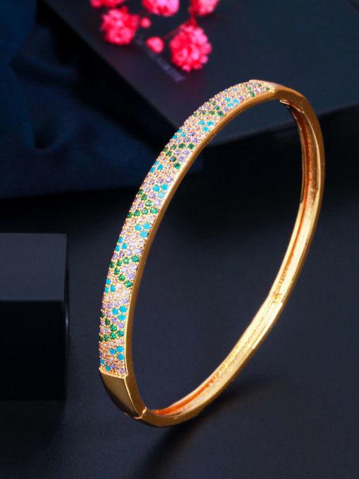 S0194 gold Brass Cubic Zirconia Round Luxury Band Bangle