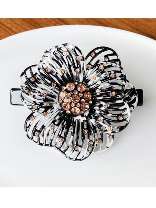 black Cellulose Acetate Cute Flower Zinc Alloy Rhinestone Spring Hair Barrette