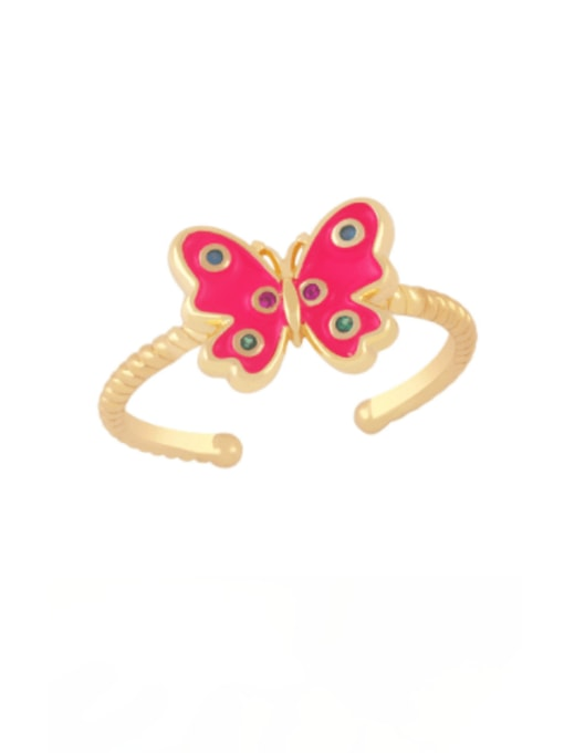 Rose red Brass Enamel Butterfly Minimalist Band Ring