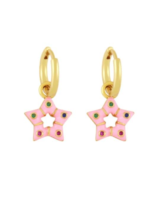 Pink Brass Multi Color Enamel Star Vintage Huggie Earring